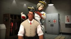 [SFM] Now you have one too! by P90Fox on Deviantart - Team Fortress 2's Medic meets Overwatch's Mercy