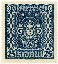 ein-bleistift-und-radiergummi: Austrian Postage Stamp 'High Priestess Designed by W. Rare Stamps, Old Stamps, Vintage Stamps, Postage Stamp Design, Tampons, Mail Art, Stamp Collecting, My Stamp, Graphic Design Illustration