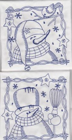 6 different  Bluework embroidered Christmas snowman quilt fabric blocks