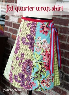 Free sewing pattern. Make a wrap skirt entirely from fat quarters. Pattern for women's wrap skirt. Free sewing tutorial