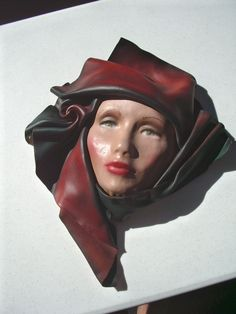 "Leather Sculpted Face Woman Red Black Scarf Painted Signed Wall Art 13"" x 17"" #ContemporyArtDeco"