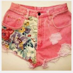 Would be an easy DIY - dye jeans and then sew on fabric scraps