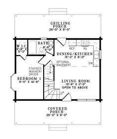 Log Cabin House Plan First Floor - 073D-0047 | House Plans and More