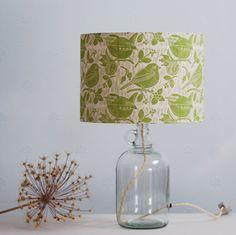 Robin & Wren • block printed lampshade drum & glass flagon bottle lamp base made by Hannah Madden.