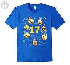 Men's Emoji Birthday Shirt For 17 Seventeen Year Old Girl Boy Tee 3XL Royal Blue - Birthday shirts (*Amazon Partner-Link)