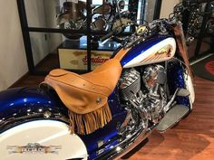 Checkout this beauty…. Blue Galaxy and White-Indian Motorcycle! Get your own design on your motorcycle too! Come and benefit from the expertise of the crew @ Alcade Customs, Inc !