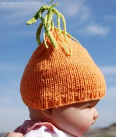 Cotton seamless carrot beanie 03 months Fall by chicksalejunior