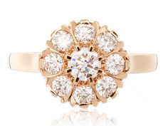 Virginie David - Marguerite ring mounted on rose gold with diamonds, ~ 2'900 Euros