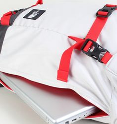 """The North Face Pre-Hab 15"""" Laptop Backpack - Ether Grey/Fiery Red - Rushfaster.com.au Australia"""