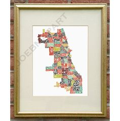 Chicago  Neighborhood Typography Map Art Print 11x14 by joebmapart, $20.00