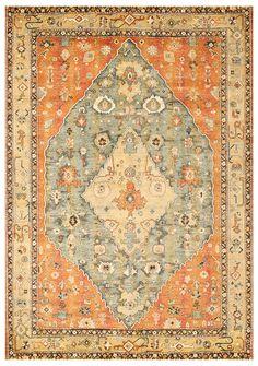 Light Blue and Orange Copper Rust Indian Pattern Rug