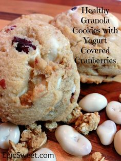 Healthy Granola Cookies with Yogurt Covered Cranberries: these cookies are so good! The Granola adds a lovely crunchiness and the Cranberries add lovely tartness. They are a winning combination of healthy and delicious!