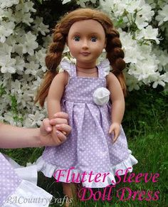 PACountryCrafts: Flutter Sleeve Doll Dress for American Girl doll American Girl Outfits, Ropa American Girl, American Girl Dress, American Doll Clothes, Sewing Doll Clothes, Girl Doll Clothes, Girl Dolls, Ag Dolls, Barbie Clothes