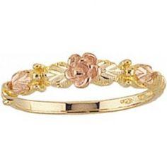 Black Hills Gold Jewelry Women's Black Hills Gold Ring with Rose Black Hills Gold Jewelry, Silver Jewelry, Fine Jewelry, Women Jewelry, Jewellery, Unique Jewelry, Black Rings, Gold Rings, Jewelry Collection
