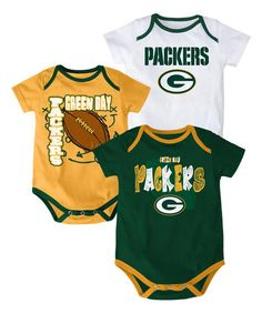 Love this Green Bay Packers Three-Point Spread Bodysuit Set - Infant on   zulily 4901eb4d7