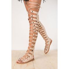 Jeffrey Campbell Olympus Knee High Glad Sandal ($170) ❤ liked on Polyvore featuring shoes, sandals, bow shoes, rubber sole shoes, greek sandals, lace up gladiator sandals and roman sandals
