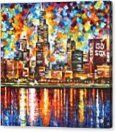 Chicago - Palette Knife Oil Painting On Canvas By Leonid Afremov Acrylic Print