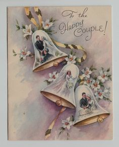 Vintage Bride & Groom in Wedding Bells Greeting Card