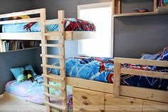 ******build triple bunk bed plans... WITH STORAGE!!!!