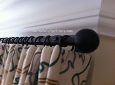 19mm Wrought Iron pole in black with ball finials by Cameron Fuller. Supplied and fitted by OnTrackCurtainFitters.com. Curtains hung, dressed and steamed to showroom standard. Cameron Fuller, Curtain Poles, Hanging Curtains, Wrought Iron, Bathroom Hooks, Showroom, Fashion Showroom, Hang Curtains, Blacksmithing