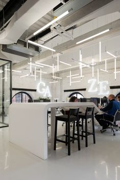 Image 18 of 19 from gallery of Gazeta.ru News Agency Office / Nefa Architects. Photograph by Nefa Architects Office Ceiling, Open Ceiling, Basement Lighting, Office Lighting, Corporate Interiors, Office Interiors, Office Interior Design, Interior Exterior, Light Architecture