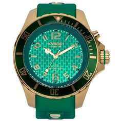 KYBOE! 'Emerald' Silicone Strap Watch, 48mm ($270) ❤ liked on Polyvore featuring men's fashion, men's jewelry and men's watches
