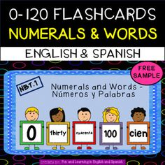 FREE SAMPLE - These number flashcards are incredibly useful in so many ways. This FREEBIE packet includes all numbers from 0-10 in numeral form and in word form (English and Spanish versions included). The complete packet is common core aligned from 0-120, colorful, easy to read, and so much fun to... 1st Grade Activities, List Of Activities, 1st Grade Math, Kindergarten Activities, Math Resources, Number Flashcards, The Game Is Over, Number Words, Math Journals