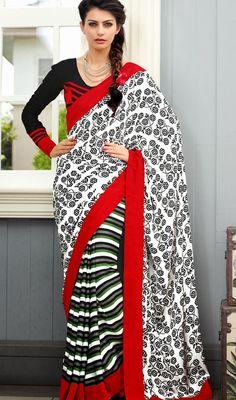 Trendy Multicolor Chiffon Block Print Saree Price: Usa Dollar $66, British UK Pound £39, Euro48, Canada CA$71 , Indian Rs3564.