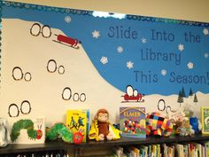 "Winter bulletin board for the library: ""Slide into the library this season!"""