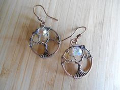 Tree of Life Earrings Swarovski Crystal AB Wire by OurFrontYard, $27.77