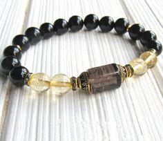 Prosperity Citrine bracelet Smoky Quartz Onyx gemstone
