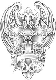 Angel wings and cross. This will be my first tattoo.