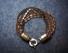 Industrial Oxidized Copper Multi Chain Bracelet with by BevaStyles