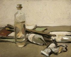 Samuel Peploe, Still Life. Dull atmosphere. Shapes lack in bright colour. Mixture of soft lines and dark lines. Shapes behind bottle are cramped and piled up. Shadows and reflections give 3D effect and a sense of depth.