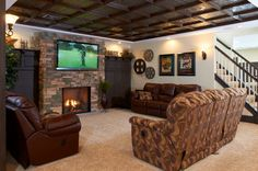 Modern Basement Photos Ceiling Design, Pictures, Remodel, Decor and Ideas - page 7