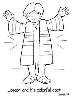 Preschool Bible story picture to color of Joseph wearing his coat