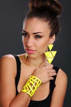 Neon Yellow Geometric Cut Out Bendable Metal Cuff Bracelet