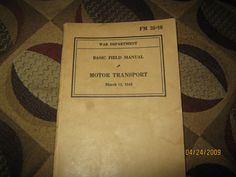 Rare WW2 basic field manual motor transport by MuddyRiverIronWorks, $25.00