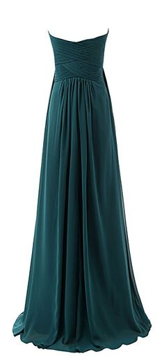 Lovelybride Sweetheart Chiffon Long Ruffles Bridesmaid Dresses Prom Gowns (6, Teal)