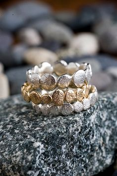 Silver & Gold Pebble Rings