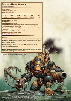 Mariner Heavy Warjack. More homebrew stuff for the campaign.