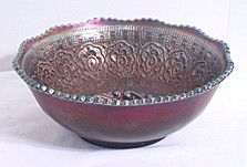 "Carnival Glass - Fenton - Persian Medallion - Cobalt Blue - Bowl 8 1/2"""