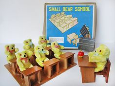 Vintage Shackman Small Bear School in original box.