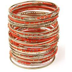 Amrita Singh Orange Goa Bangle Set (240 MXN) ❤ liked on Polyvore featuring jewelry, bracelets, amrita singh bangles, orange bangle bracelet, boho style jewelry, orange bangles and bangle jewelry