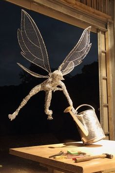 Robin Wight Fairy the thief Chicken Wire Art, Chicken Wire Sculpture, Wire Art Sculpture, Wire Sculptures, Abstract Sculpture, Bronze Sculpture, Robin Wight, Fantasy Wire, Fairy Drawings