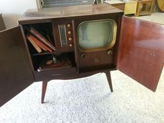 1950's Mid Century Danish Modern Motorola TV Record Stereo Cabinet