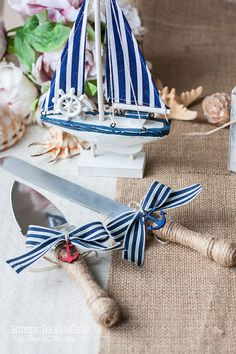 Nautical Wedding cake server and knife anchor by RusticBeachChic