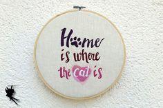 Zuhause ist wo die Katze ist  Wanddeko von DieNaehfeeNoir auf Etsy