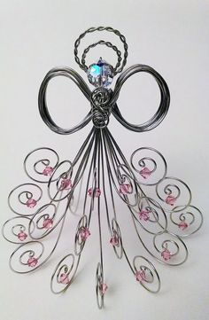 Special Edition: Silver tone wire angel, Swarovski crystal beads, AB head and pink beads
