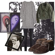 A fashion look from October 2010 featuring long-sleeve sweater dresses, military style jacket and high rise skinny jeans. Browse and shop related looks.